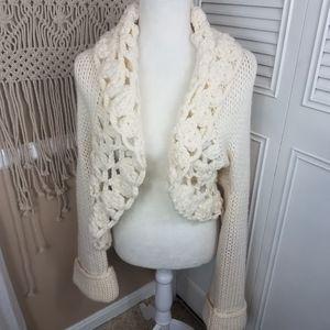 Whbm beige open cardigan chunky crochet size m/l